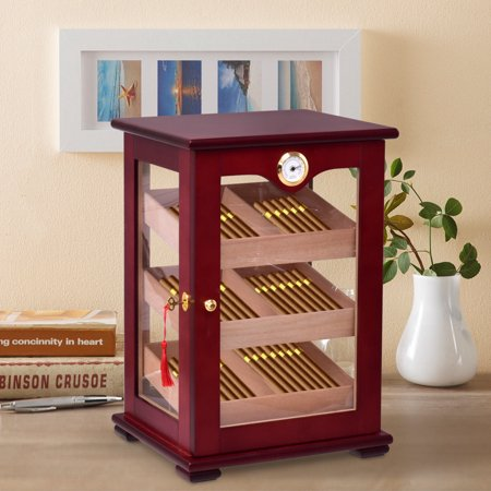 Costway Countertop Display Humidor 150 Cigars Storage Cabinet Humidifier