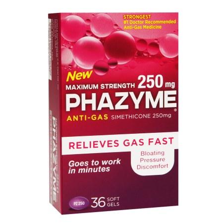 Phazyme Maximum Strength 250mg Anti-Gas Simethicone Soft Gels 36 ea(pack of 1)
