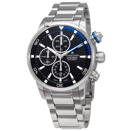 Maurice Lacroix Pontos S Black and Blue Dial Chronograph Stainless Steel Mens Watch PT6008-SS002-331 130 Maurice Lacroix Watches