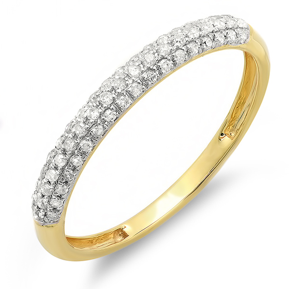 0.25 Carat (ctw) 10k Gold Round Diamond Ladies Pave Anniversary Wedding Band Stackable Ring 1/4 CT