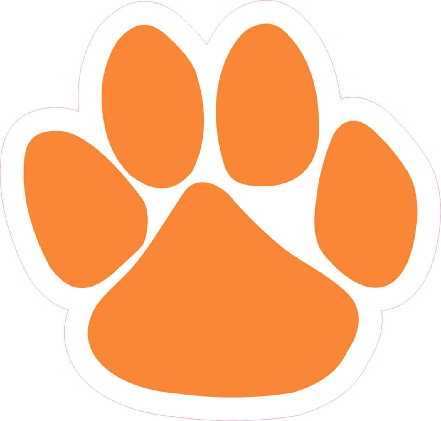 4.75in x 5in Orange Paw Print Bumper Sticker Vinyl Car Window Mascot Decal  - Walmart.com - Walmart.com