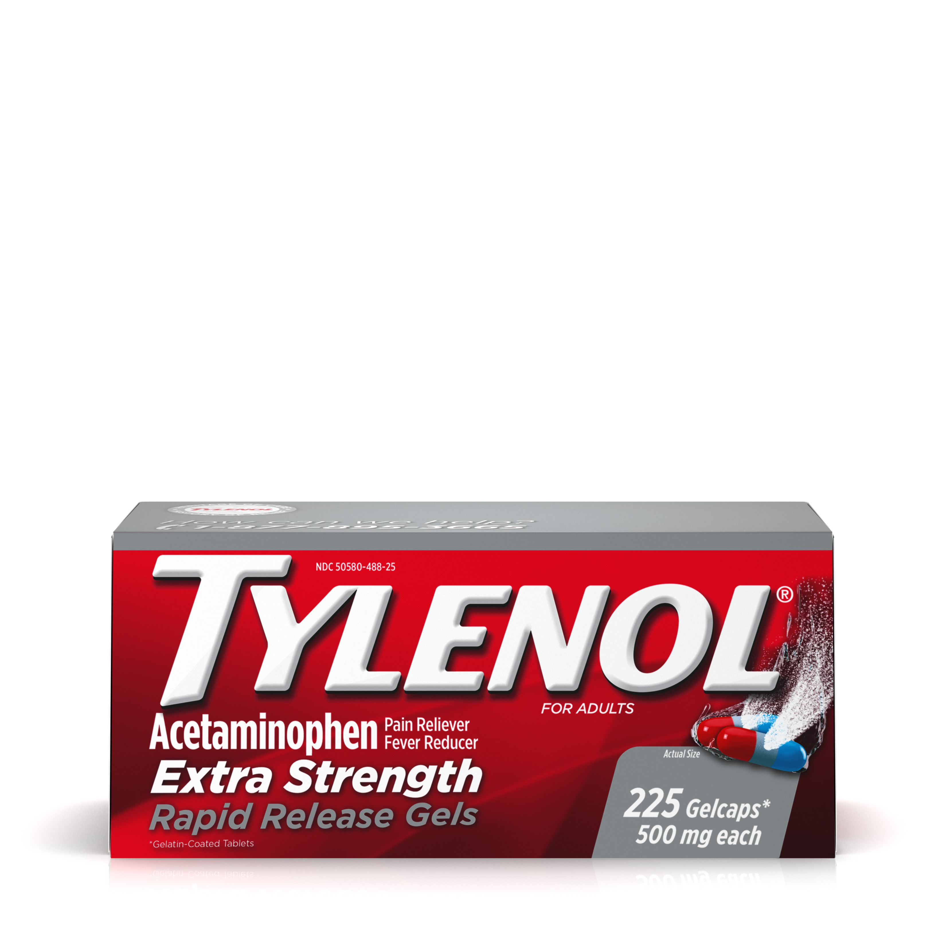 TYLENOL® Rapid Release Gels, Fever Reducer and Pain Reliever, 500 mg, 225 ct.