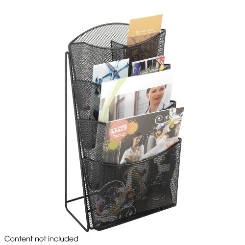 Safco Products 5640BL Onyx Mesh Magazine Rack Display Stand, 4 Pocket, Black