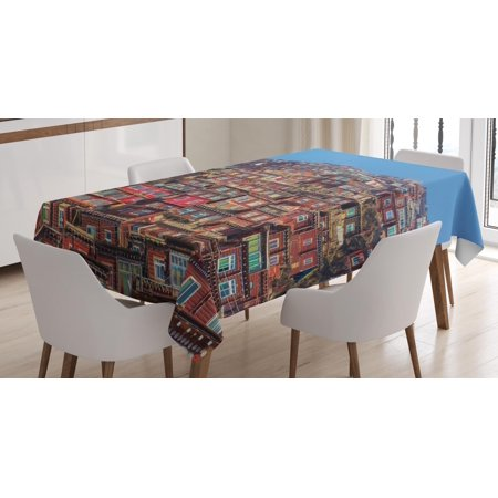 Tibetan Tablecloth, Old Houses at Larung Gar in Clear Sunny Day Travel Picture Ancient Sichuan China, Rectangular Table Cover for Dining Room Kitchen, 60 X 84 Inches, Multicolor, by - Kitchen Gear