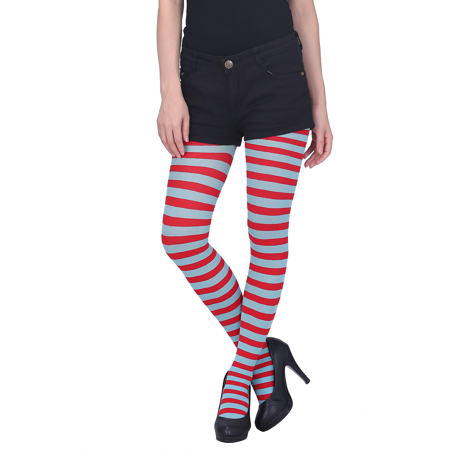 HDE Women's Striped Tights Full Length Sheer Microfiber Nylon Footed Stockings (Red and Sky Blue) - Striped Stockings Plus Size