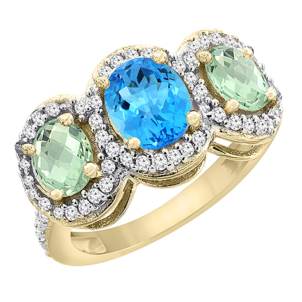 10K Yellow Gold Natural Swiss Blue Topaz & Green Amethyst 3-Stone Ring Oval Diamond Accent, size 5.5 by Gabriella Gold