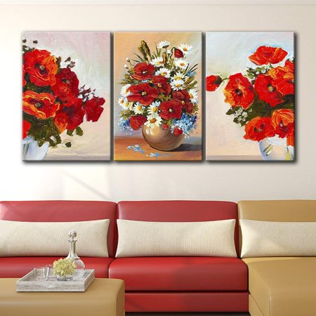 wall26 3 Panel Canvas Wall Art - Oil Painting Style Red Flowers in The Vases - Giclee Print Gallery Wrap Modern Home Decor Ready to Hang - 24