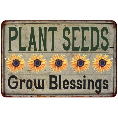 Plant Seeds Grow Blessings Vintage Look Garden Chic 8x12 Metal Sign G8120020039 ()