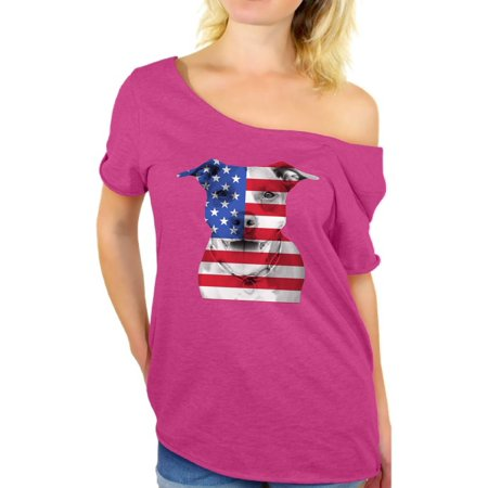 d98c4b4cf0 Awkward Styles American Flag Off Shoulder T Shirt USA Flag Pitbull Tshirt  Tops Patriotic Clothing 4th of July Gifts for Dog Owners Independence Day  Outfit ...