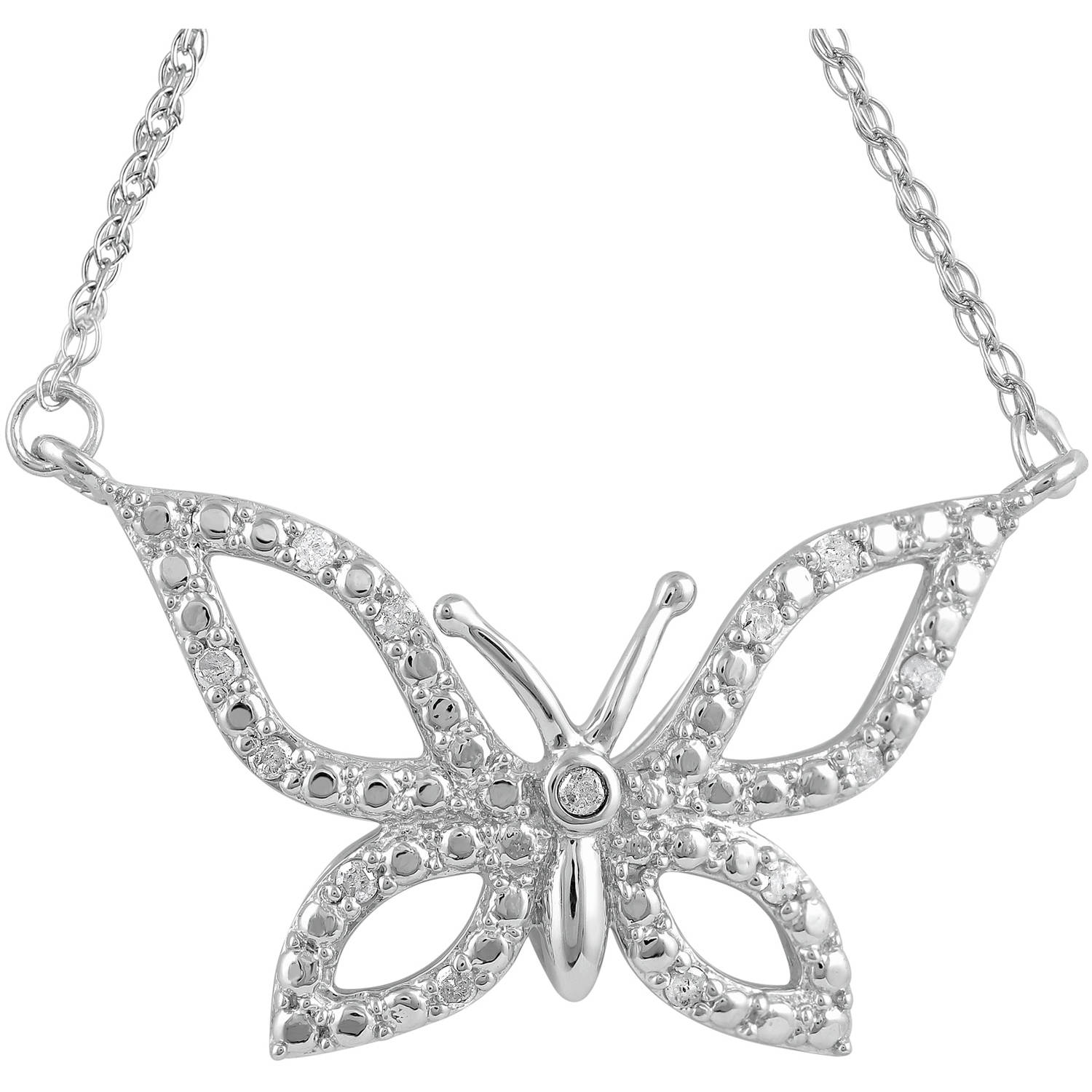 1/10 Carat T.W. Diamond Sterling Silver Butterfly Pendant with Chain