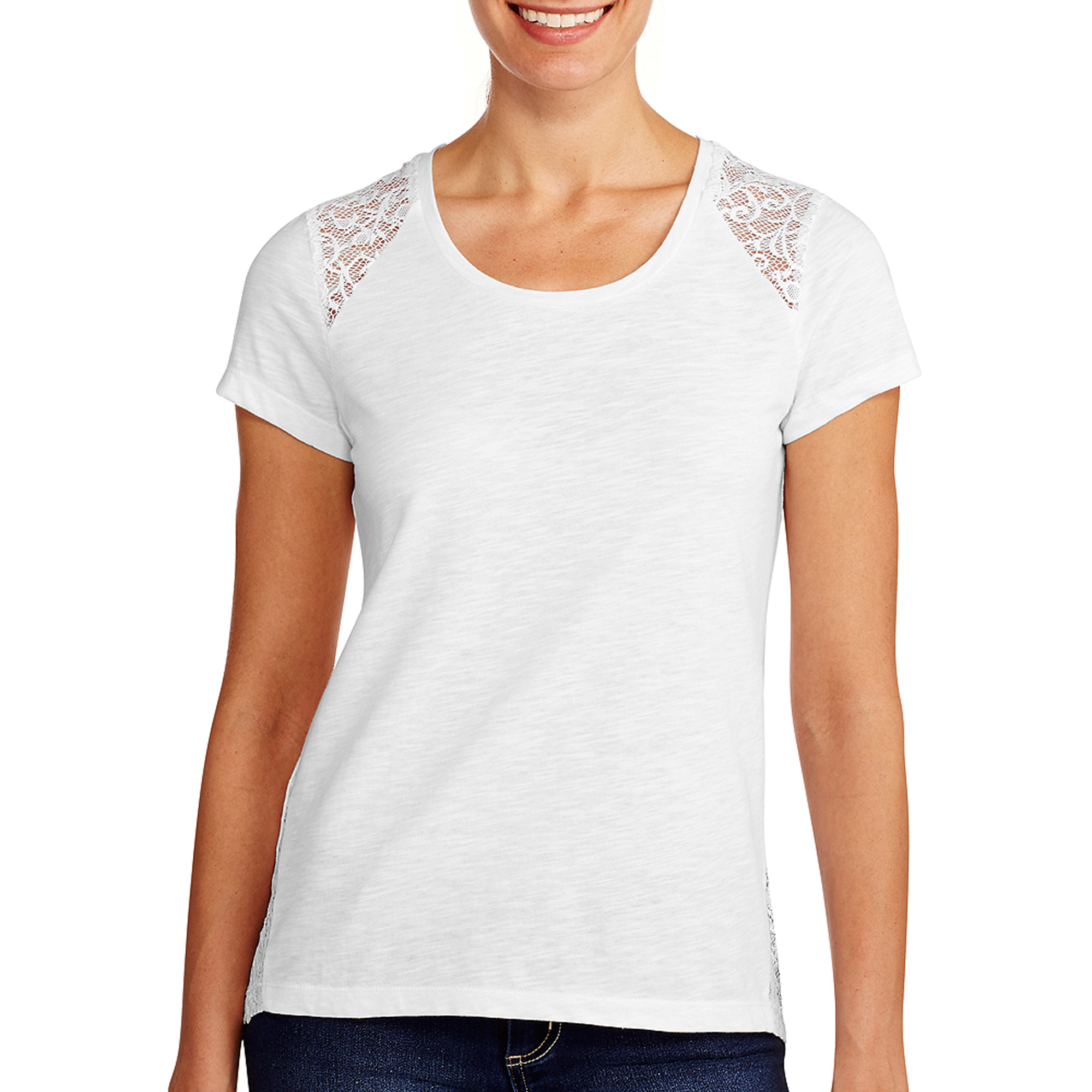 Jordache Women's Essential T-Shirt with Lace Shoulder