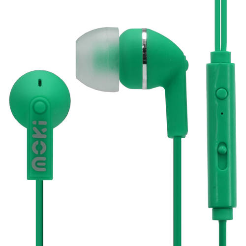 Moki Noise Isolation Earbuds with microphone & control - GREEN