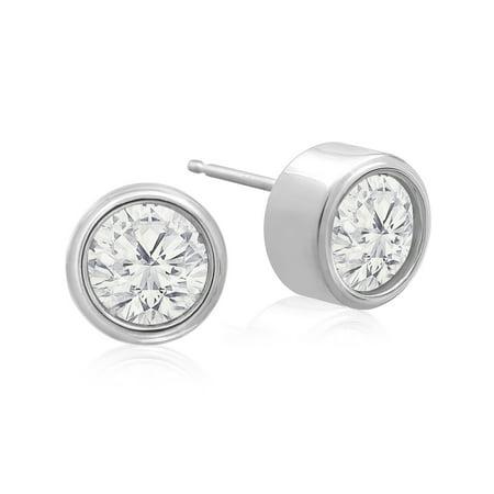 fdba1cabd23a3 SuperJeweler - 1 1 2 Carat Bezel Set Diamond Stud Earrings Crafted In 14  Karat White Gold - Walmart.com