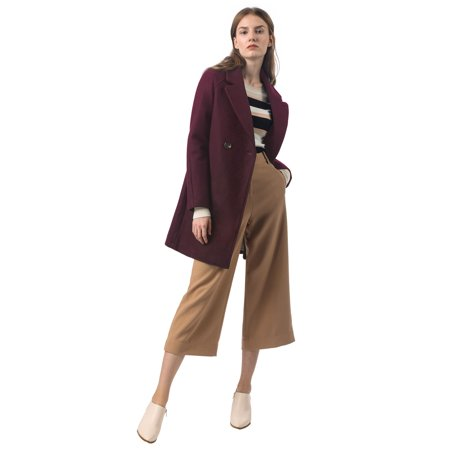 Women's Notched Lapel Double Breasted Raglan Trench Coat Burgundy S (US 6) - image 3 de 6