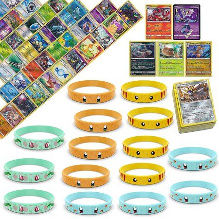 Playoly 100 Pokemon Cards with 5 Holo Rare Cards - 12 Pokemon Bracelets Inspired by Pikachu Charmander Squirtle - Squirtle With Shades