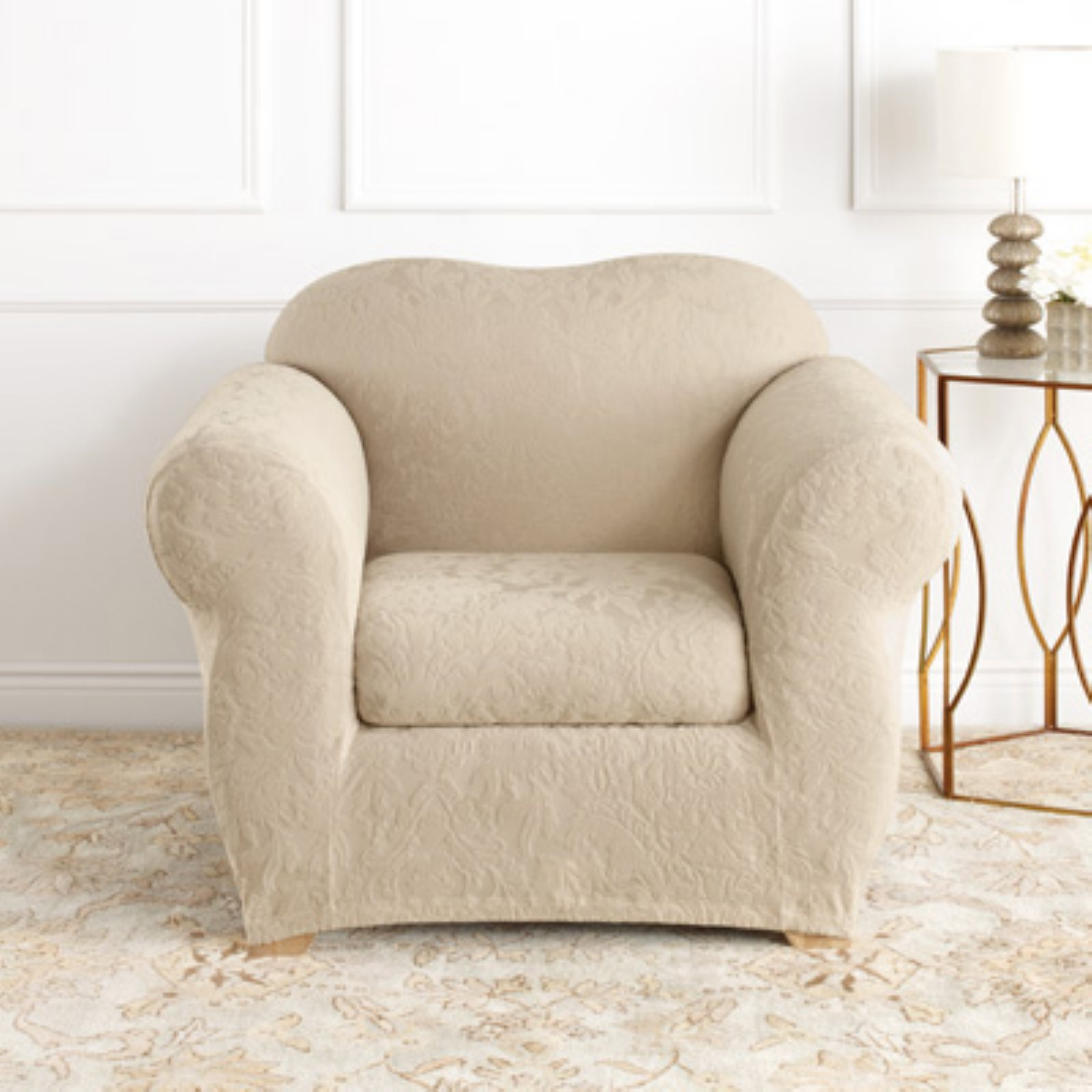 Sure Fit Stretch Jacquard Damask T-Cushion Chair Slipcover