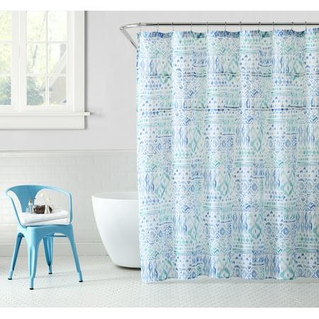 Peach & Oak, Fabric Shower Curtain - Yasmin Print - 80% Polyester / 20% Cotton - 72