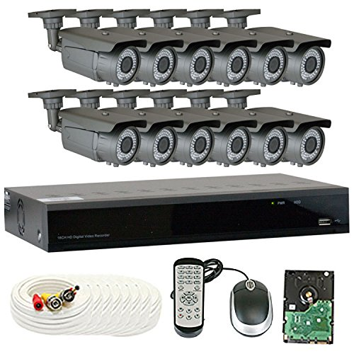 GW 16 Channel 4MP 5-In-1 DVR HD-TVI 1080P Complete Security System with (12) x True 2MP HD 1080P Outdoor / Indoor 2.8-12mm Varifocal Zoom Bullet Security Cameras and 3TB HDD, QR Code Scan Remote View
