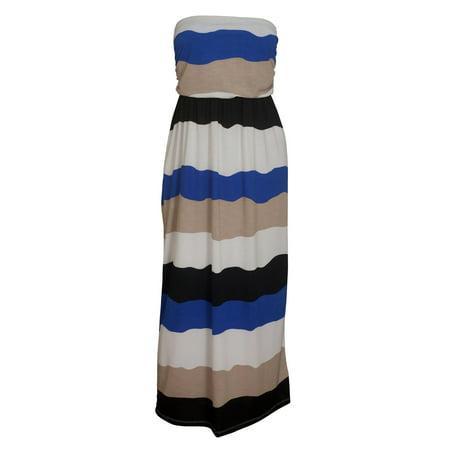 Plus size Colorblock Maxi Tube Dress Blue
