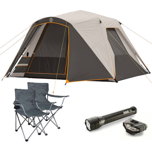 Bushnell Shield Series 6-Person Instant Tent with 2 Folding Chairs and Flashlight Value Bundle