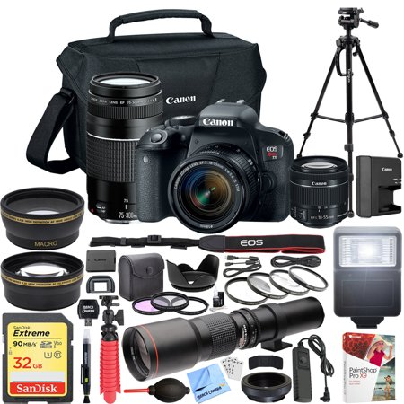 Canon EOS Rebel T7i DSLR Camera with EF-S 18-55mm f/3.5-5.6 + EF 75-300mm f/4-5.6 III Dual Lens Kit + 500mm Preset f/8 Telephoto Lens + 0.43x Wide Angle, 2.2x Pro