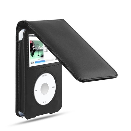 TSV Leather Sleeve Pouch Case Holster Pouch Carrying Sleeve with Movable Belt Clip for iPod Classic 80GB/120GB Black(Not For (Best Carrying Sleeves)