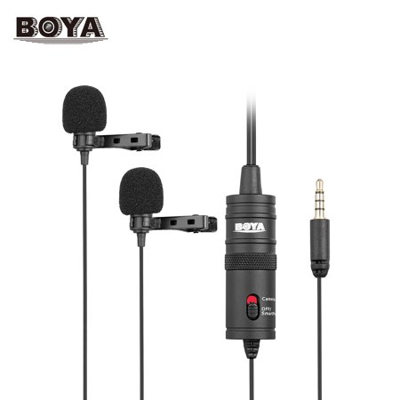 Camcorders Lavaliere (BOYA BY-M1DM Dual Omni-directional Lavalier Microphone Lapel Clip-on Condenser Microphone for Canon Nikon Sony DSLR Camera Camcorder)