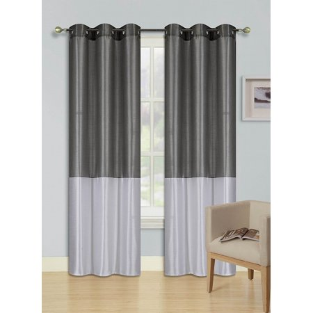 1pc SILVER GRAY  WHITE (EID) LINED FOAM BACKING BLACKOUT Faux Silk Drape Panel Top Chrome Metallic Grommet Window Curtain Treatment Drape 2 Shade 37 wide x 95 (Wide Shades)