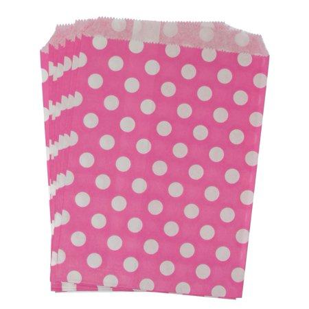 Hot Pink Polka Dot Paper Treat Bags - Pink Paper Bags