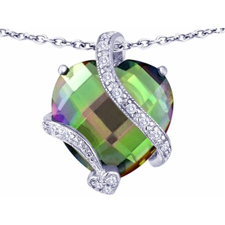 Star K Large 15Mm Heart Shape Rainbow Mystic Quartz Love Pendant Necklace In Sterling Silver