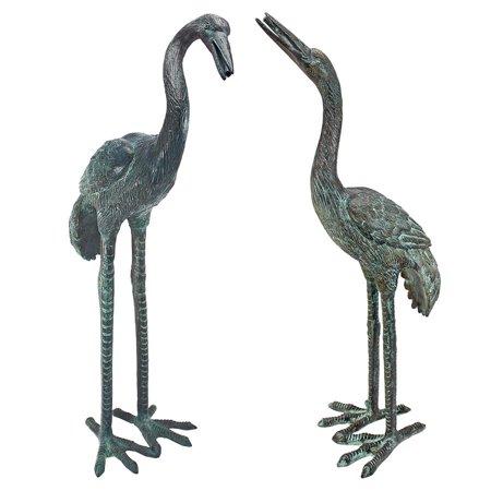 - Design Toscano Emerald Verde Small Cranes Cast Bronze Garden Statue Set