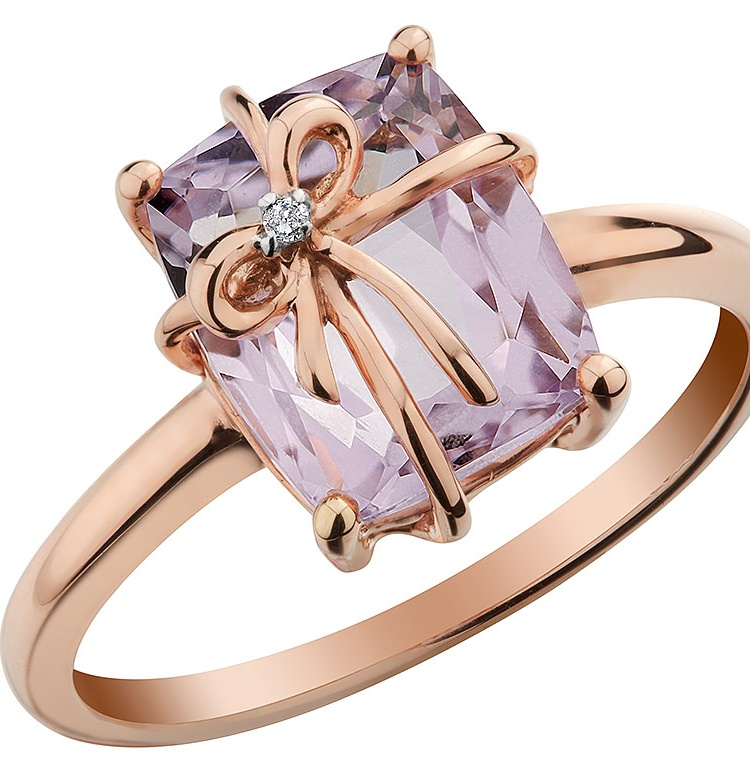Pink Amethyst Ring with Diamond 2.5 Carat (ctw) in 10K Rose Pink Gold by Gem And Harmony
