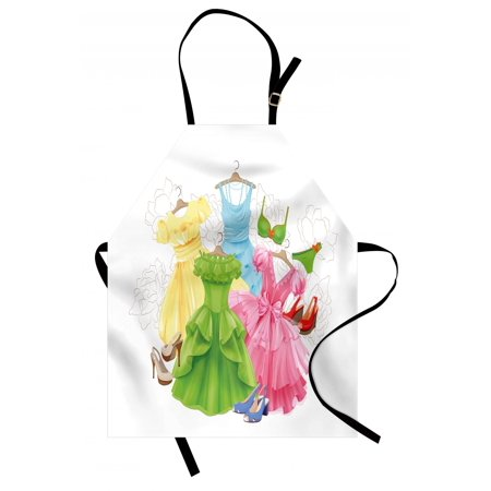 Heels and Dresses Apron Princess Outfits Bikini Shoes Wardrobe Party Costumes in Girls Design, Unisex Kitchen Bib Apron with Adjustable Neck for Cooking Baking Gardening, Multicolor, by (Bikini Shoes)