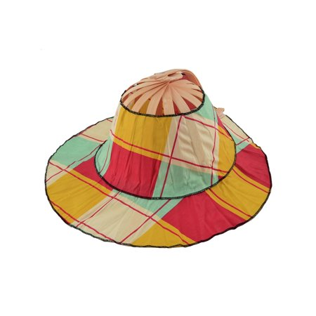 Wedding Party Women Bamboo Frame Grid Folding Hand Fan Hat Cap Colorful - Chinese Bamboo Hat