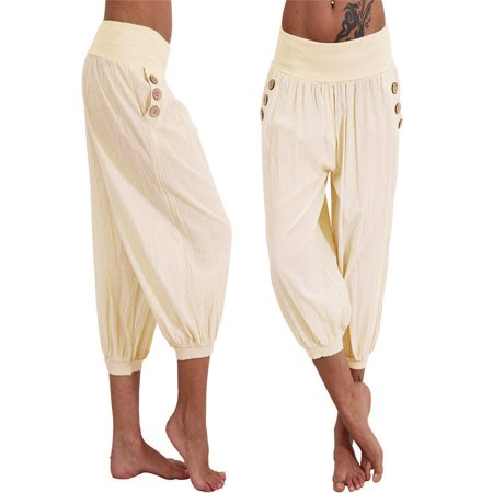 Women Elastic Waist Boho Check Pants Baggy Wide Leg Summer Casual Yoga Capris