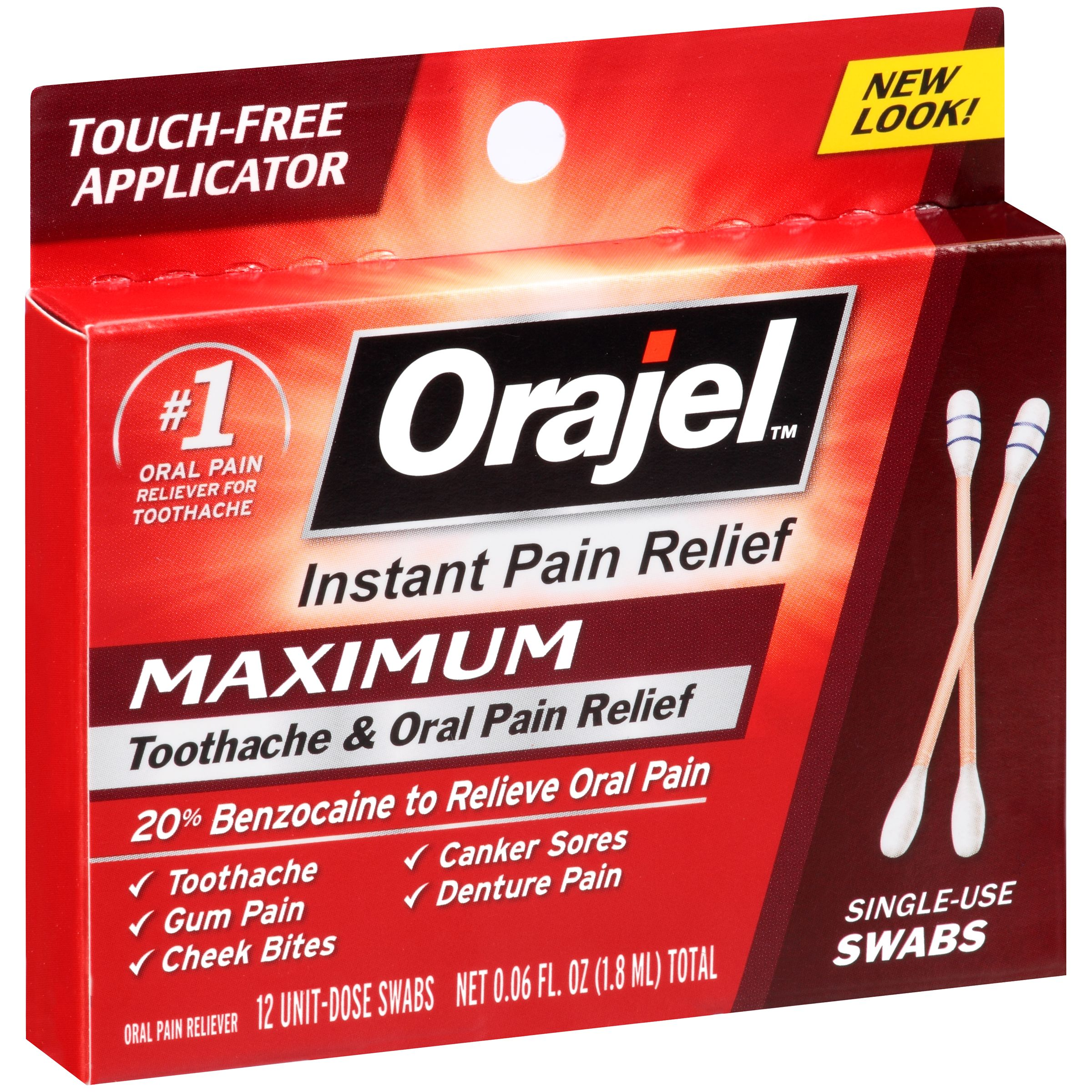 Orajel™ Maximum Toothache & Oral Relief Swabs 0.06 fl. oz. Carded Pack