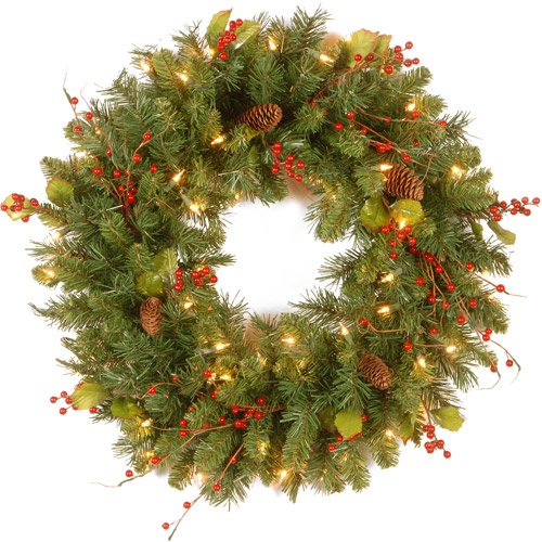"National Tree Pre-Lit 24"" Classical Collection Wreath with Red Berries, Cones, Holly Leaves and 50 Clear Lights"