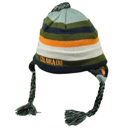 Colorado Centennial State Striped Olive Orange Knit Beanie Tassel Cuffed USA Hat