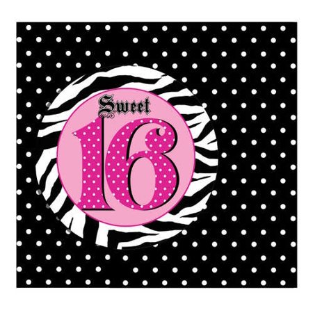 Pink Zebra Sweet 16 Party Invitations