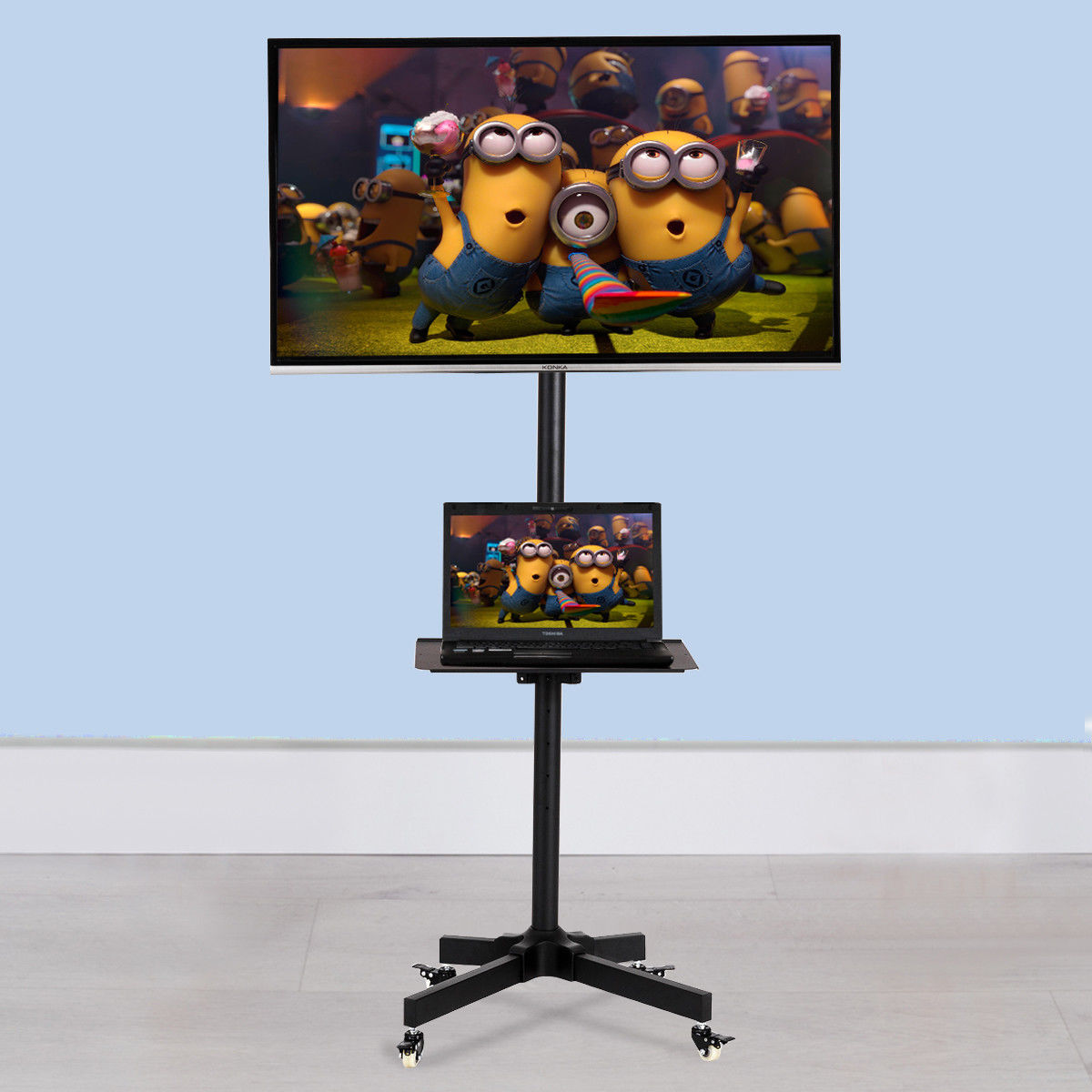 Goplus TV Cart Stand Plasma LCD LED Flat Screen Panel w/ Wheels Mobile Fits 19'' to 37''