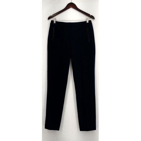 Susan Graver Pants 4 Soho Ponte Fly Front w/ Faux Leather Navy Blue A258630