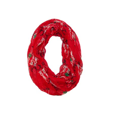 Size  one size Women's Christmas Reindeer Holiday Infinity Loop Scarf](Holiday Scarf)