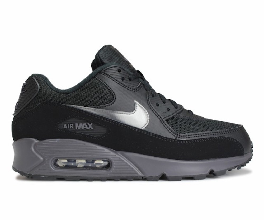 Nike Mens Air Max 90 Running Shoe (Black/Thunder Grey/Black)