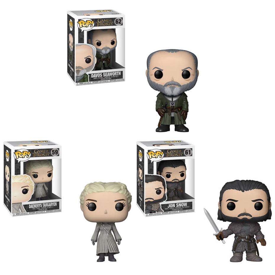 Funko POP! Television - Game of Thrones S8 Vinyl Figures - SET OF 3 (Davos, Daenerys & Jon)