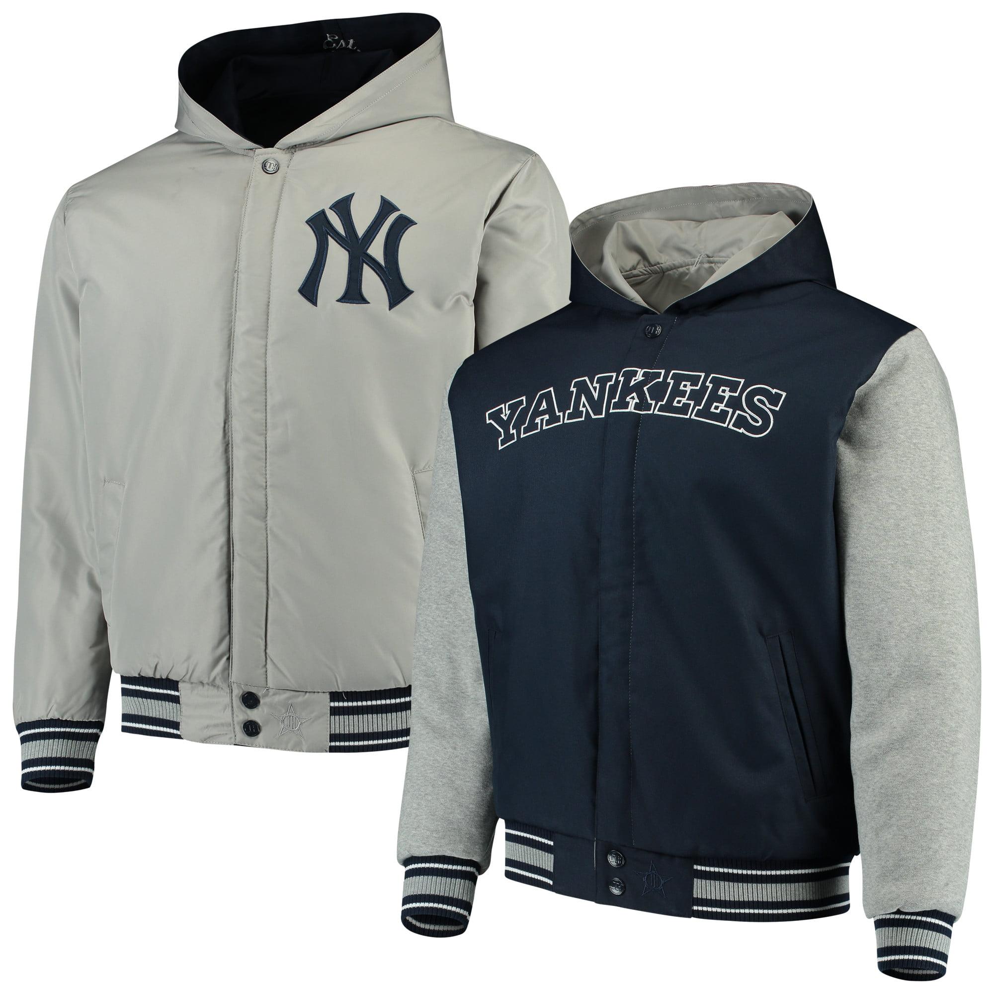 New York Yankees JH Design Reversible Full-Snap Twill Jacket - Navy/Gray