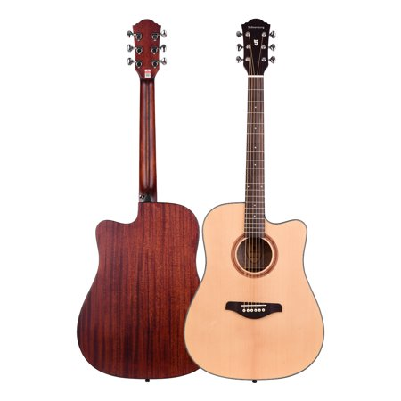 41inch Cutaway Acoustic Folk Guitar Spruce Wood Top Panel Mahogany Wood Backside Panel with Strap Bag Capo Picks Strings - image 6 of 7