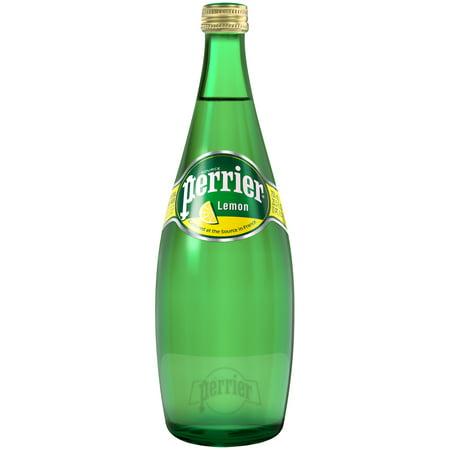 PERRIER Sparkling Natural Mineral Water, Lemon 25.3-ounce glass bottle