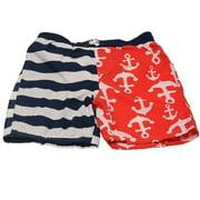 Little Boys Navy White Stripe Red Anchor Print Swimwear Trunks 4T