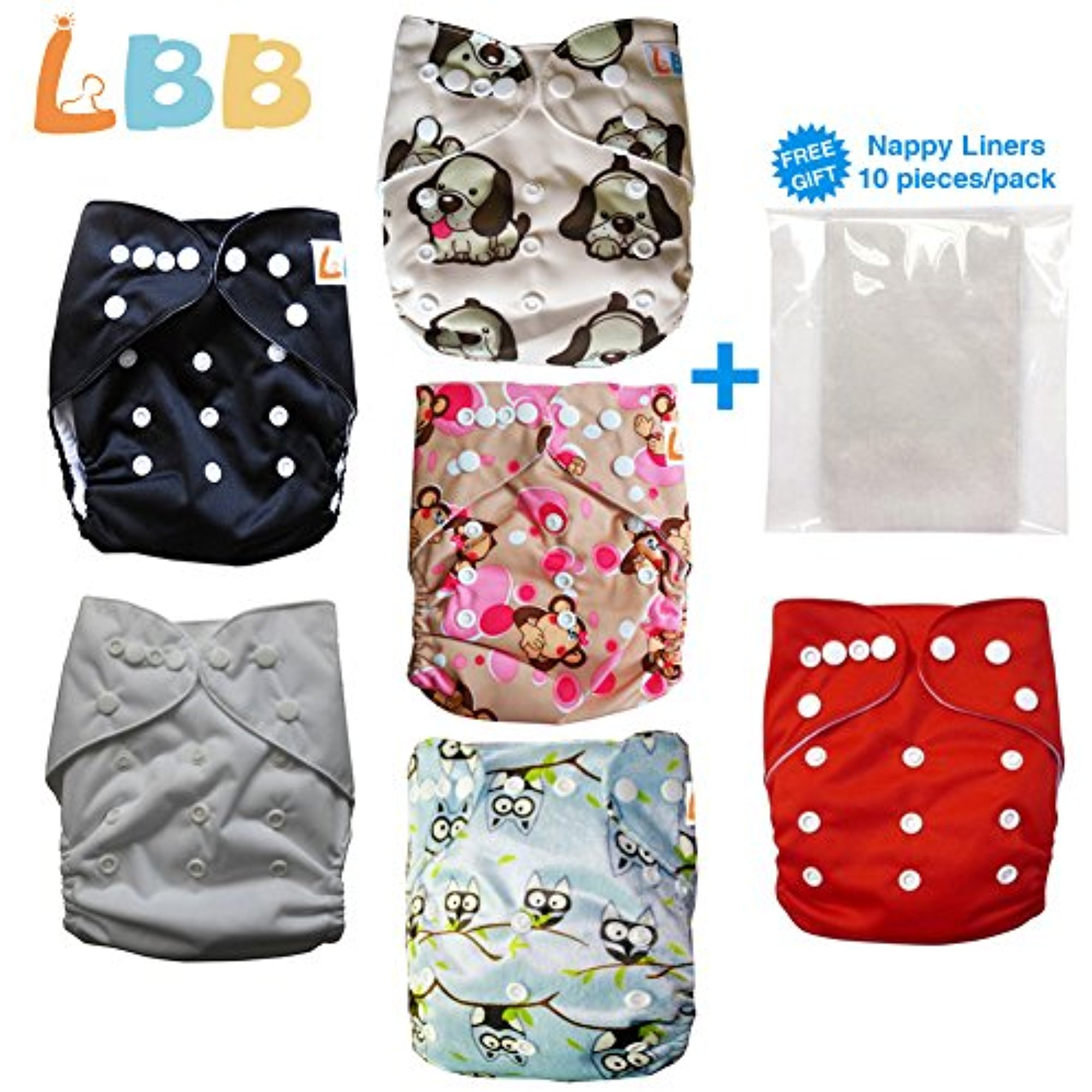 LBB Baby Cloth Diapers Reusable Washable, 6 pc + 6 Inserts, Adjustable Size
