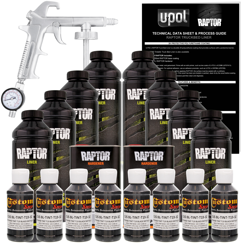 U-POL Raptor Black Metallic Urethane Spray-On Truck Bed Liner Kit w/ FREE Custom Coat Spray Gun with Regulator, 8 Liters